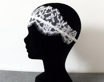 Headband wedding white lace