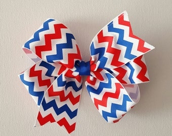 Patriotic red white and blue pinwheel Hairbow ~ 4th of July Hairbow