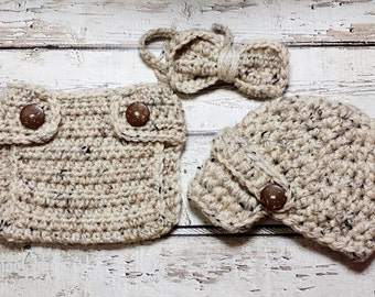 Newborn Baby Boy Photo Prop Handmade Crochet Diaper Cover, Crochet Diaper Cover Hat and Bow Tie Set * Oatmeal