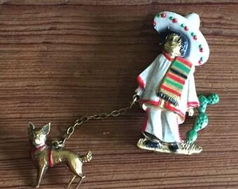 Frito Bandito - 1940s - 1950s Mexican Souvenir Pin - Vintage Brooch - Cactus- Sarape -Chihuahua Dog - Sombrero - Tourista -