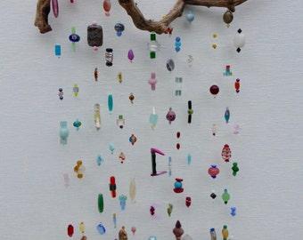 driftwood, driftwood art, hanging mobile, driftwood mobile,recylced art, mobile,hanging mobile,zen art,feng shui,feng shui art, glass mobile