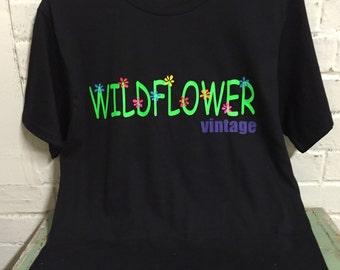 Woman's T-shirt short sleeved black handmade Wildflower Vintage
