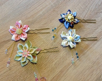 One of a kind Kanzashi flowers with Swarovski crystals