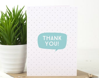 "Thank You Card - Thank You Card Pack - ""Speech Bubble"" Thank You Card - Blue Thank You Card - Pink Thank You Card - Typographic Thank You"