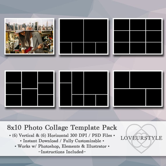 8x10 digital photo template pack photo collage scrapbook templates photography templates. Black Bedroom Furniture Sets. Home Design Ideas