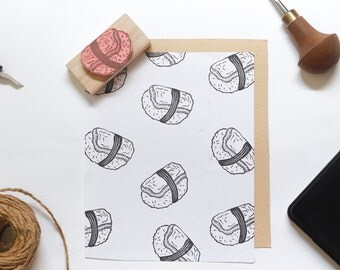 Tamago Sushi Linocut Stamp - Handmade Linocut Stamp Rubber Stamp