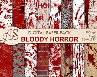 Digital Bloody Horror Seamless Paper Pack, 16 printable Digital Scrapbooking papers, Halloween Digital Collage, Instant Download, set 203
