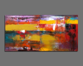 Abstract Painting Original Painting Abstract Painting Contemporary Red Yellow Ochre Black Horizontal Painting 60x120 cm / 23,6x47,2 inches