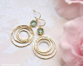 Aqua blue glass earrings, Gold swirl hoop earrings, Gold circle earrings, Aquamarine earrings, Modern everyday earrings, Boho Chic Bohemian
