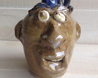 "5.5"" tall face jug by Crystal King"