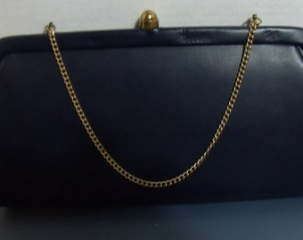 Vintage Navy Leather Clutch with chain 1950's-1960's 11 x 6 inches