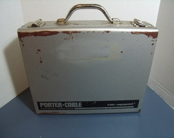 Vintage Porter-Cable Metal Tool Box case for battery drill 14 x 11 x 3.75 Inches