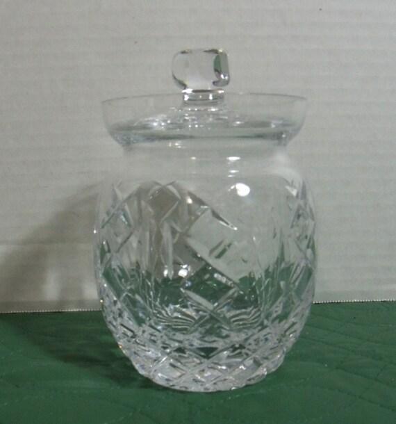 Vintage irish crystal faceted jar with lid cavan honey jelly for Cava cristal
