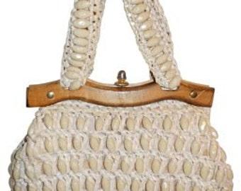 Vintage woven beaded satchel