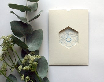 Azure blue Geometric wedding invitation & RSVP card SAMPLE*
