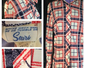 1970's Sears polyester blouse, red, white and blue! size 18 (uk)