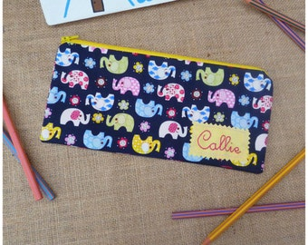 Elephant Pencil Case, Personalised Pencil Case, Girls Personalised Case, Back to School Gift, Gift for Girls, Elephants, Stationery Case