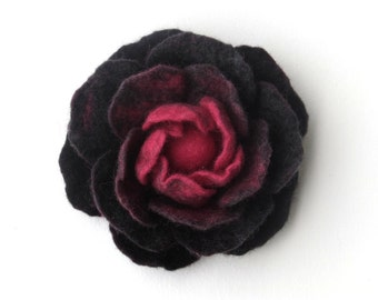 gray pink flower pin - felted wool brooch