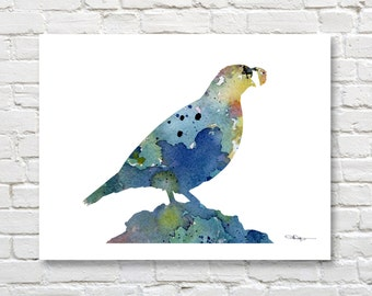 Blue Quail Art Print - Abstract Watercolor Painting - Wall Decor
