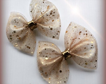 Gold and Tan Glitter Metallic Holiday / Christmas Hair Bow Set of 2