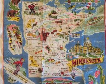 Vintage Handkerchief Minnesota Souvenir