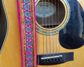 Mini Medallion Pink Beaded Guitar Strap; Statement Guitar Strap; Unique Custom Guitar Straps; Handmade Straps; Beaded Guitar Straps
