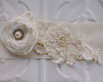 Ivory Bridal Sash Wedding Accessory