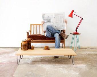 Coffee Table, Hairpin Legs, In Oak, Industrial Furniture, Eames, Handmade, Mid-century.