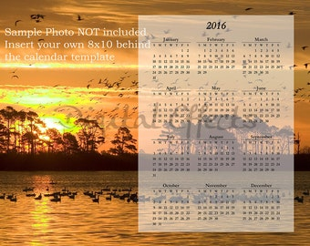 "CALENDAR Template 2016, Photoshop Overlay, PSD & PNG Files, 8""x10"" Photo Calendar Template, Photoshop Editable Template Calendar Digital"