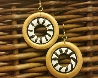 Wooden hand painted dangle earrings