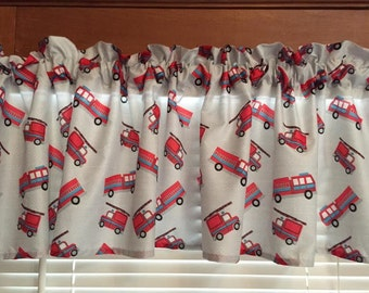 "Fire Trucks Window Valance ~ 62"" Wide"
