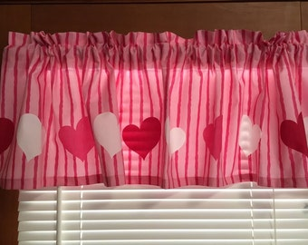 """Pink and White Hearts Window Valance ~ 72"""" Wide"""