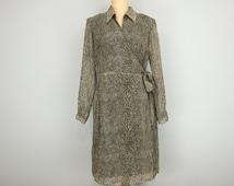 Midi Dress Size 14 Long Sleeve Wrap Dress Large Chiffon Fall Dress Office Clothing Reptile Clothing Career FREE SHIPPING Womens Clothing