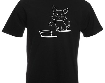 Mens T-Shirt with Cute Hungry Cat Design / Sad Kitty Shirts / Asking to Eat Kitten Shirt + Free Random Decal Gift