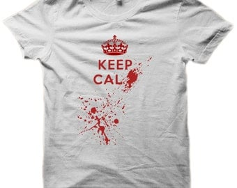 Funny T shirt * Keep Calm and Blood * Zombie Walking Dead