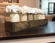 Mason jar planterbox centerpiece, farmhouse decor, rustic decor, mason jar decor