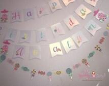 Candy garland, Candy theme paper garland, candy bar birthday garland