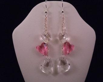 Valentine Earrings: White & Pink Swarovski Crystal