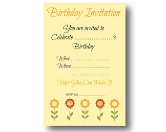 Instant Download and Printable Yellow Flower Birthday Invitation