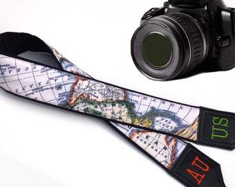 Personalized camera strap. Monogram camera straps. Black World Map Camera Strap. Australia. North America. Africa. Finds by InTePro
