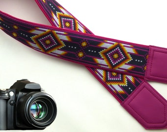 Camera strap inspired by Native American.  Southwestern Ethnic Camera strap.  DSLR, SLR Camera Strap. Camera accessories by InTePro