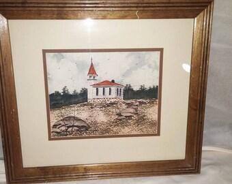 Vintage Framed Print of Old Church by Steven W. Schultz