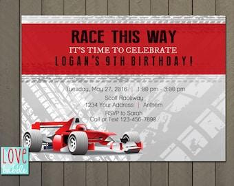 Race Car, Cars Birthday Baby Shower Party Invitation - PRINTABLE DIGITAL FILE - 5x7