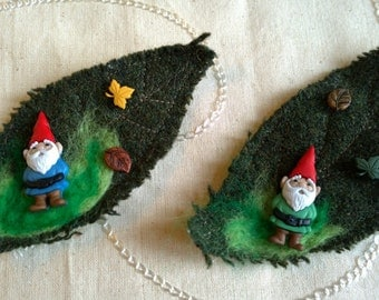 Gnome on a leaf brooch handmade textile fun quirky