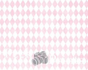 7ft.x7ft. Vintage Pink Argyle Vinyl Photography Backdrop - Circus Background - Boy Backdrop - Photo Background