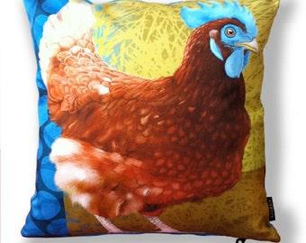 Unique designer bird cushion cover cotton BLUE COMB