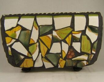 Mosaic metal tin in greens and yellows