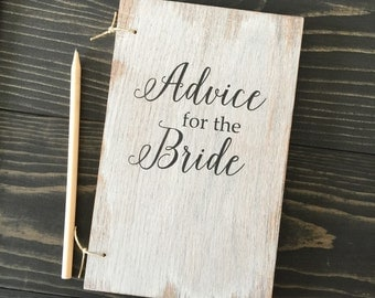 Advice for the bride, bridal shower gift, wood wedding book