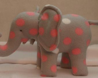 Fleece Stuffed Animal Elephant,Grey with pink/white polka dots