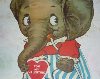 on sale Very Unique HUGE Elephant Valentine Unused Card